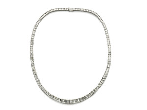 Baguette Diamond Platinum Necklace