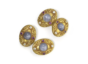 Antique Star Sapphire Ruby & Diamond Cufflinks, by Starr