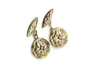 Gold & Diamond Gothic Revival Cufflinks