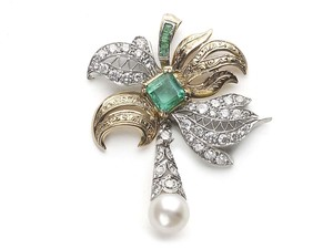 Emerald, Diamond & Pearl Pendant