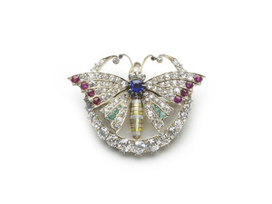 Antique Butterfly & Crescent Brooch