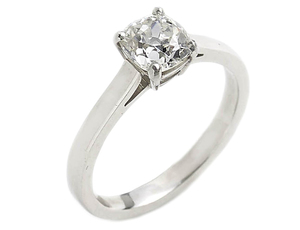 Cushion Old-Cut Solitaire Diamond Ring 1.02ct