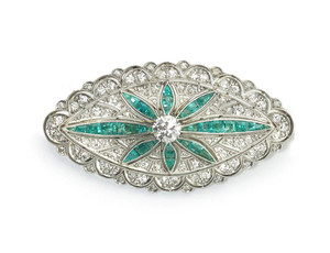 Art Deco Emerald & Diamond Brooch