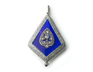 Art Deco Enamel & Diamond Watch Pendant