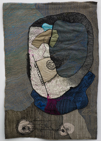 Portrait of medea 6 1980  colored sewing on textile 90x60 cm