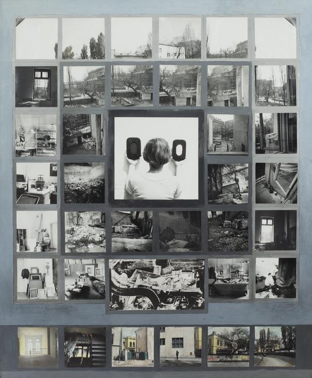 Atelierul_-_invocarea_desenului1979_vintage_photographs__tempera__guase__84_x_70_cm_