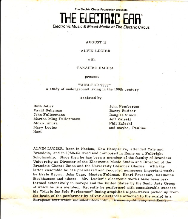 Shelter9999 electricear electric circus 1968