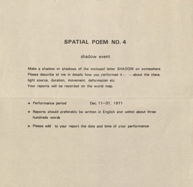 Spatial poem no. 4 instructions