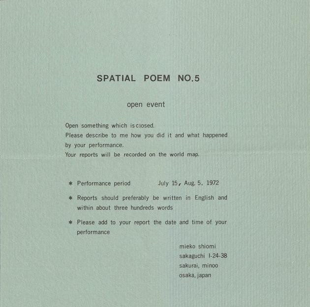 Spatial poem no. 5 instructions