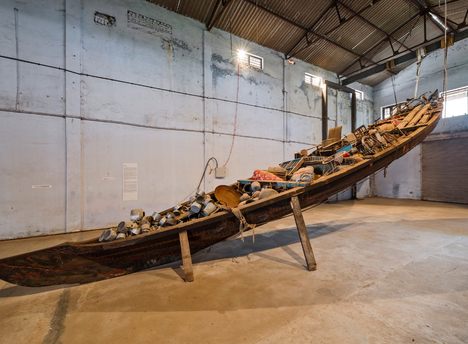 Subodh gupta what does the vessel contain  that the river does not (2012) courtesy kochi muziris biennale