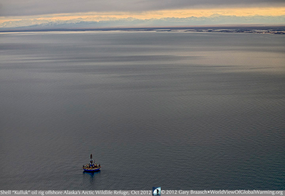 Royal Dutch Shell drilling rig off the coast of the Arctic National Wildlife Refuge. Photo by: Gary Braasch.