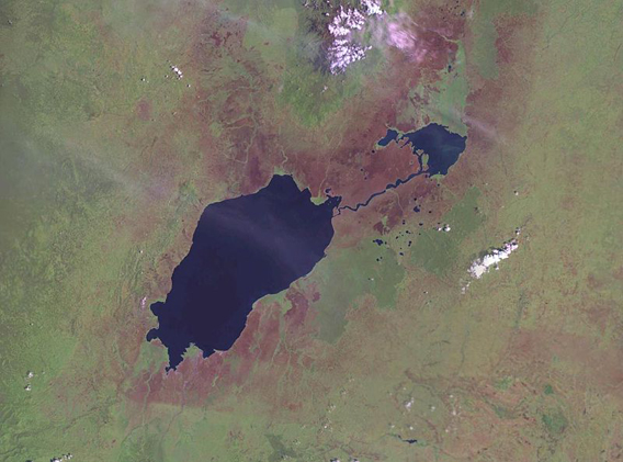NASA Landset image of Lake Edward in Virunga National Park. Photo by: NASA.