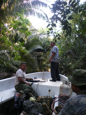 A SATIIM patrol in the national park, escorted by the Belize Defense Force. Photo by: Robin Oisín Llewellyn.