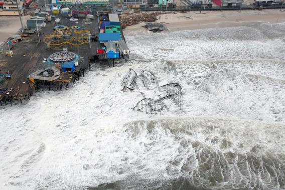 Hurricane Sandy storm surge on the New Jersey shore. Photo by: Master Sgt. Mark C. Olsen/U.S. Air Force/New Jersey National Guard.