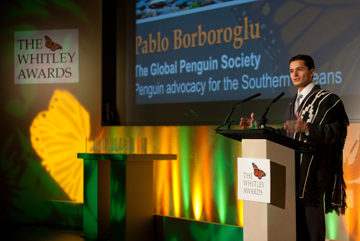Borboroglu accepting the Whitely Award in 2010. Photo courtesy of GPS.