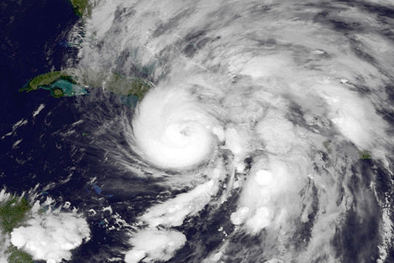 Hurricane Sandy on October 25th in the Caribbean. Scientists say that climate change may have intensified Hurricane Sandy with its impact worsened by rising sea levels and increased evaporation from hotter marine waters. Recent studies predict that worsening climate change will bring more intense hurricanes. Photo by: NASA.