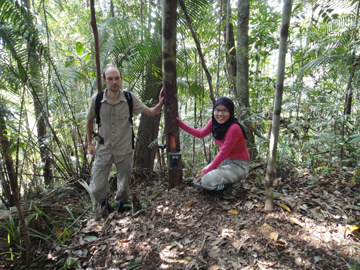 Deploying a camera trap to study frugivory by Asian elephants. Photo courtesy of Ahimsa Campos-Arceiz.