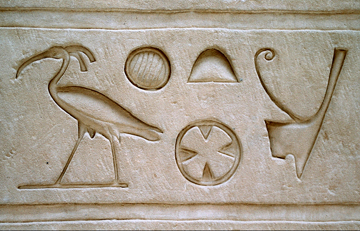 Hieroglyph from the Temple of Edfu, Egypt (ca. 250 BC), unmistakably depicting a northern bald ibis: according to ancient Egyptians this bird represented the divinity Akh accompanying the souls of the dead to the Afterworld. Photo @ A. Vándor.