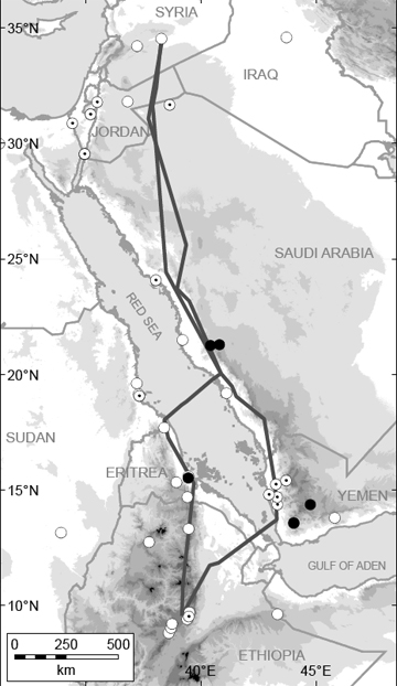 Migratory route of the oriental northern bald ibis as it was discovered in 2006 through satellite telemetry. Autumn southward journey to the east, spring northward journey to the west, each of them being about 3200 Km long. Map @ J. Lindsell.