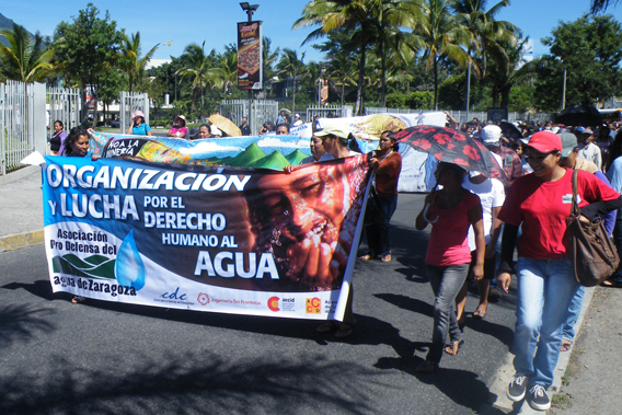 Demonstration in San Salvador, urging lawmakers to institute legislation ensuring the human right to water. Photo by: Robin Oisín Llewellyn.