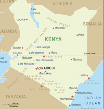 Map of Kenya with major geographic landmarks. Courtesy of wordtravels.com, creative commons license.