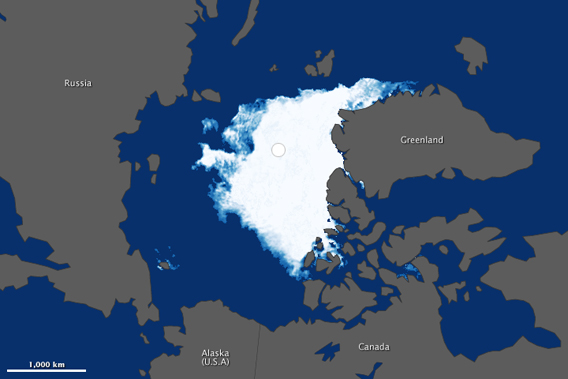 The ongoing decline in Arctic sea ice hit a new record this year that rocked even the most pessimistic predictions. The low sea ice extent hit 18 percent below the previous record set in just 2007, and was only around half the size it was in 1980. Here, NASA satellites catches a glimpse of the vanishing ice on September 13th, 2012. Image courtesy of NASA.