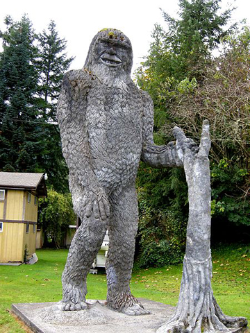 Statue of Bigfoot at roadside attraction in Washington state, U.S. Photo by: Plazak.