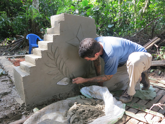 Roger Peet working on tombstone for ranger who perished from disease. Photo by: Roger Peet.