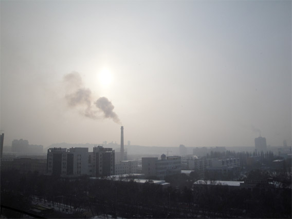 Heavy air pollution, smog and deposition of N in the city centre of Urumqi, China