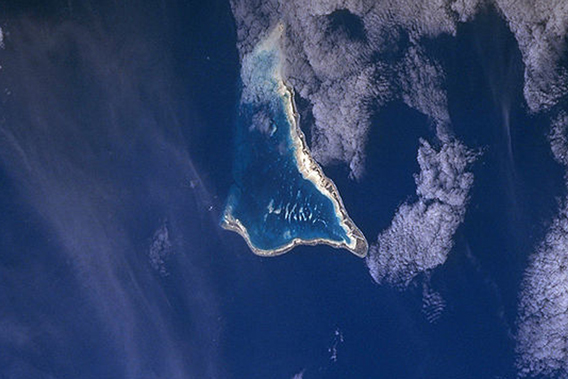 Rising sea levels may force inhabitants of Tarawa to abandon the island by the end of century. The island is home to over 45,000 people. Photo by: NASA.