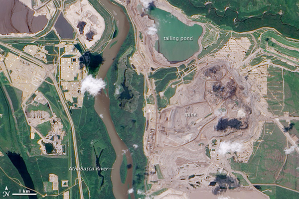 View of Canada's tar sands from satellite in 2009. Photo by: NASA.
