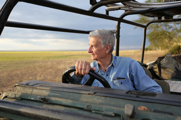 E.O. Wilson overlooking Gorongosa's grasslands. Photo by: Bob Poole.