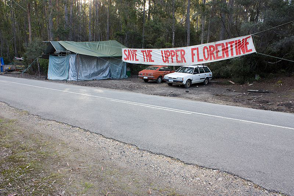 Protest camp against logging in the Upper Florentine Valley. Photo by: J.J. Harrison.
