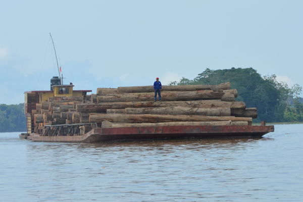 Logging boat. Photo by: Marcy Sieggreen.