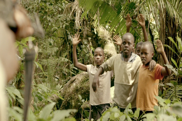 Ajani and his friends are caught trespassing in the forest in the film 'Lost in the Forest'. Photo courtesy of: Michelle Slavin.