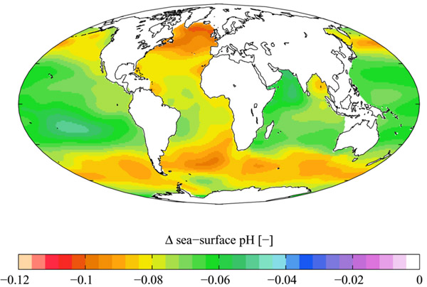 Changes in oceanic pH levels from 1700 to the 1990s. Image by: Plumbago.