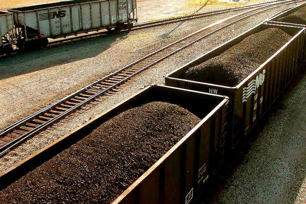 Coal train cars in Ohio. Coal is the world's most carbon intensive energy source.
