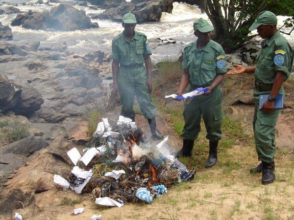 Guards burning snares. Photo courtesy of the Okapi Conservation Project.