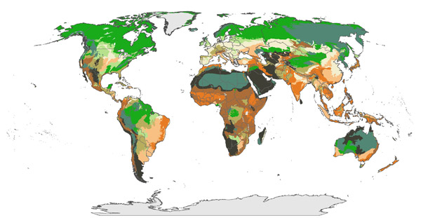 Most vulnerable regions are cream colored, while least vulnerable are dark gray/black. Regions that are heavily degraded but should retain stable climates are dark orange, while those that are relatively intact but are expected to be sensitive to climate change are dark green. Map courteys of Watson et al.