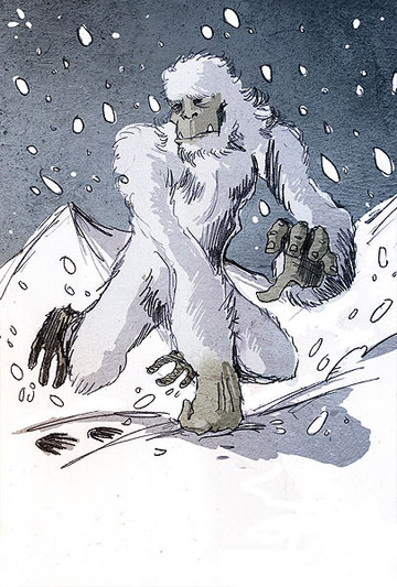Artist's rendition of the Yeti.	Illustration by: Philippe Semeria.
