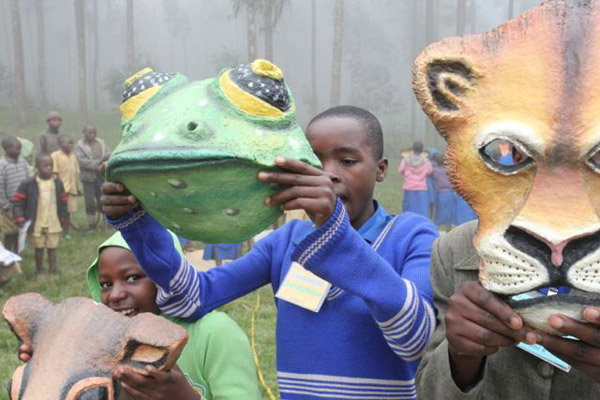 Children practice performing to an AoC song called Heroes of the Forest. Photo: © Julie Ghrist.