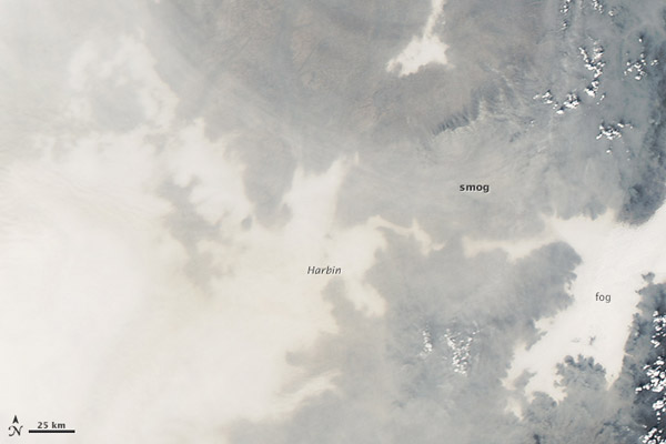 Satellite image of smog over Harbin, China on October 20th. The smog was so bad it shut most of the city down. Photo by: NASA.