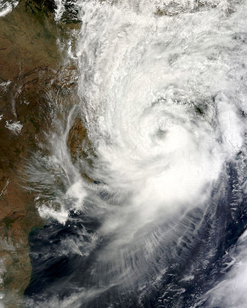 Cyclone Aila at peak strength. The cyclone hit in 2009, impacting around 3 million people. Photo by: NASA.