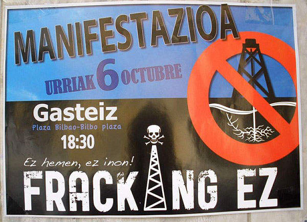 Controversy over fracking is increasingly becoming a global issue. Here is an anti-fracking poster from Spain. Photo by: Public Domain.