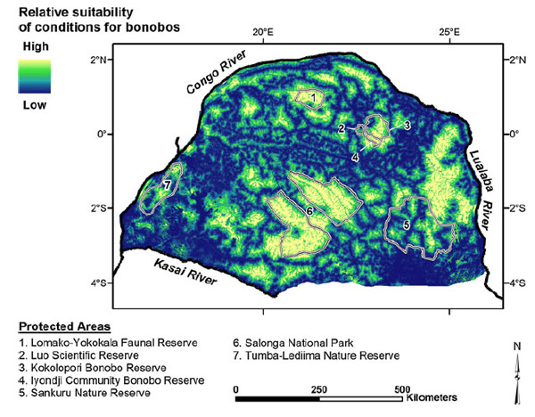 Predicted range of the bonobo. Map from Hickey et al.