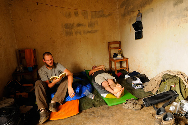 Downtime in the Democratic Republic of the Congo. Pupin on the left, Menegon on the right. Photo by: Fabio Pupin.
