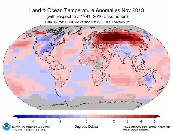 November 2013 temperature anomaly as compared to 1981-2010. Map courtesy of NOAA.