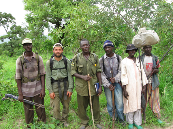 Henschel (second from left) and a lion survey team in Nigeria's Gashaka-Gumti National Park. Photo by: Philipp Henschel/Panthera.