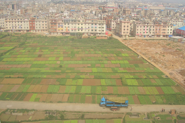 Urban areas encroaching on agricultural lands in China. Photo courtesy of Mitch Aide.