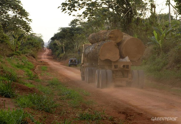 Logging truck in the DRC. Photo by: © Thomas Einberger/argum/Greenpeace.